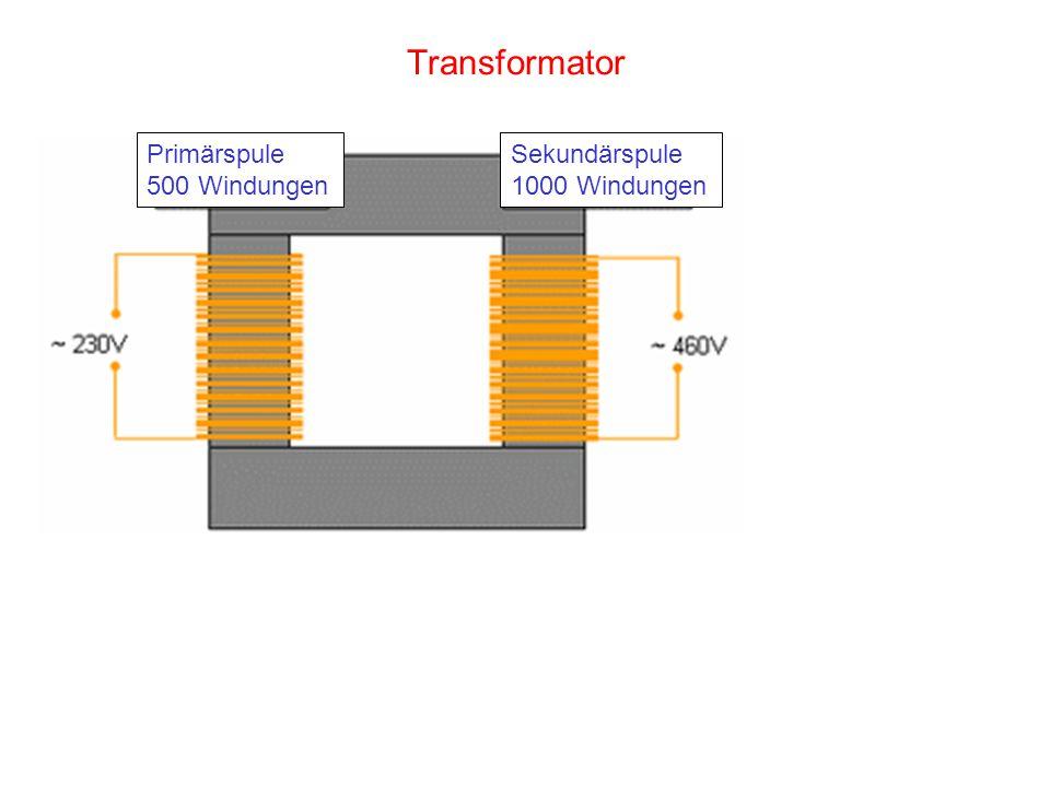 Transformator Primärspule 500 Windungen Sekundärspule 1000 Windungen