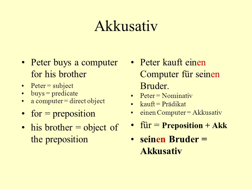 Akkusativ Peter buys a computer for his brother for = preposition