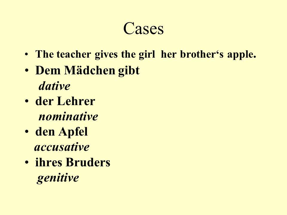 Cases Dem Mädchen gibt dative der Lehrer nominative den Apfel
