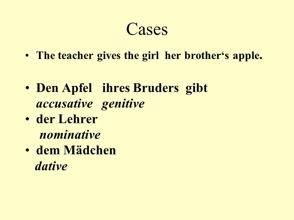 Cases Den Apfel ihres Bruders gibt accusative genitive der Lehrer