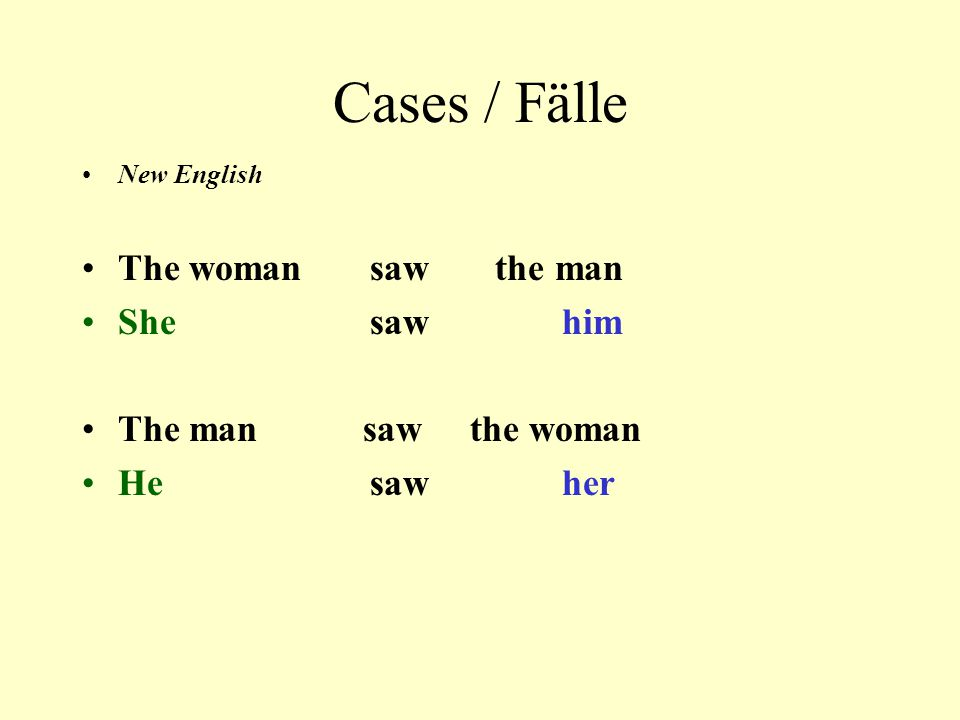 Cases / Fälle The woman saw the man She saw him The man saw the woman