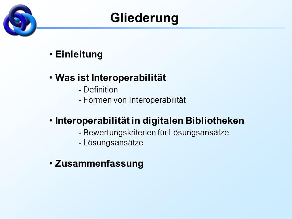 Gliederung Einleitung Was ist Interoperabilität - Definition