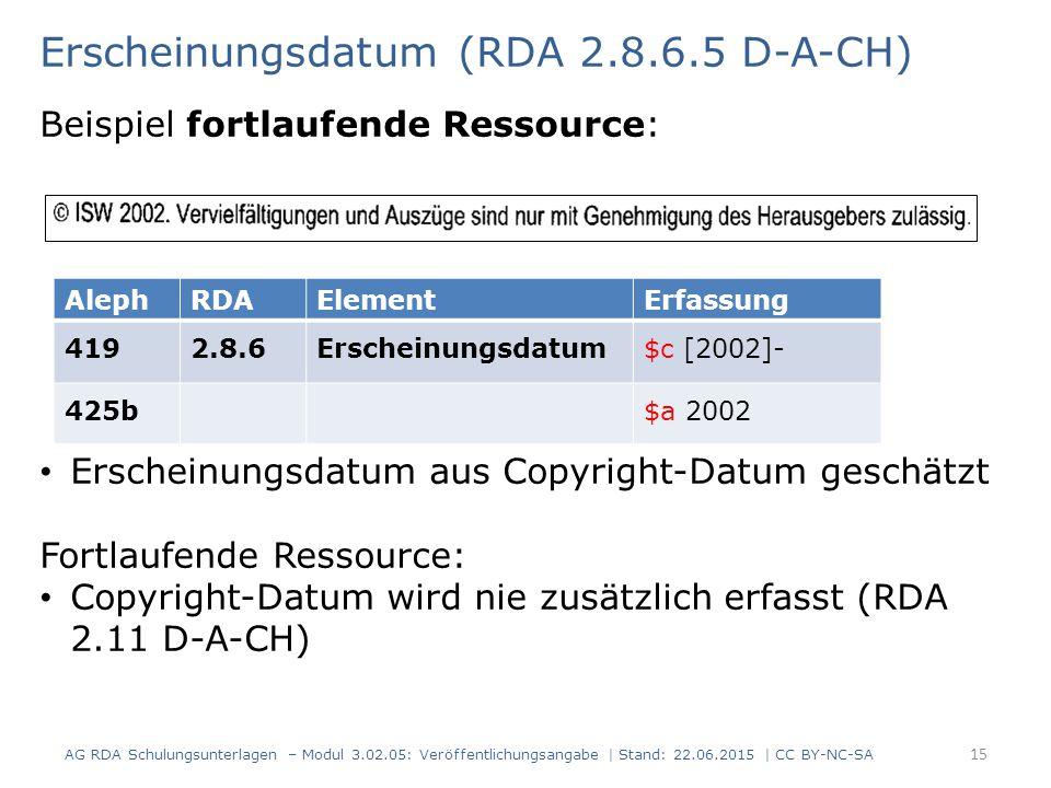 Erscheinungsdatum (RDA 2.8.6.5 D-A-CH)
