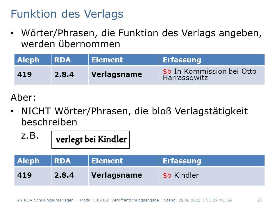 Funktion des Verlags Wörter/Phrasen, die Funktion des Verlags angeben, werden übernommen. Aber: