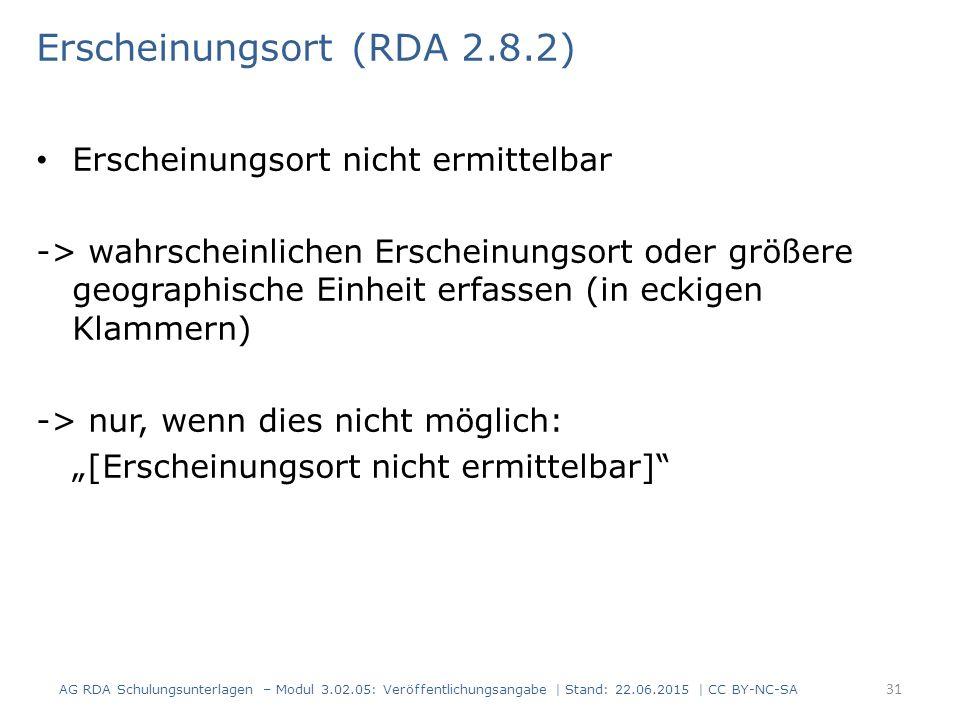Erscheinungsort (RDA 2.8.2)