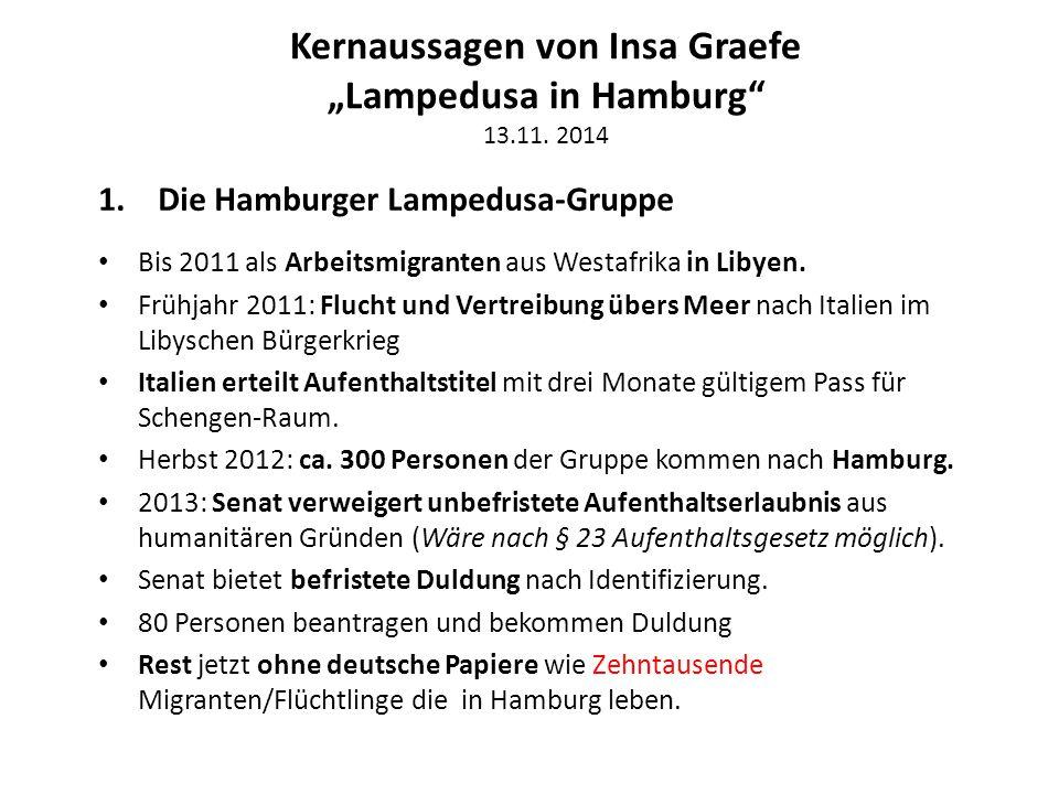"""Kernaussagen von Insa Graefe """"Lampedusa in Hamburg 13.11. 2014"""
