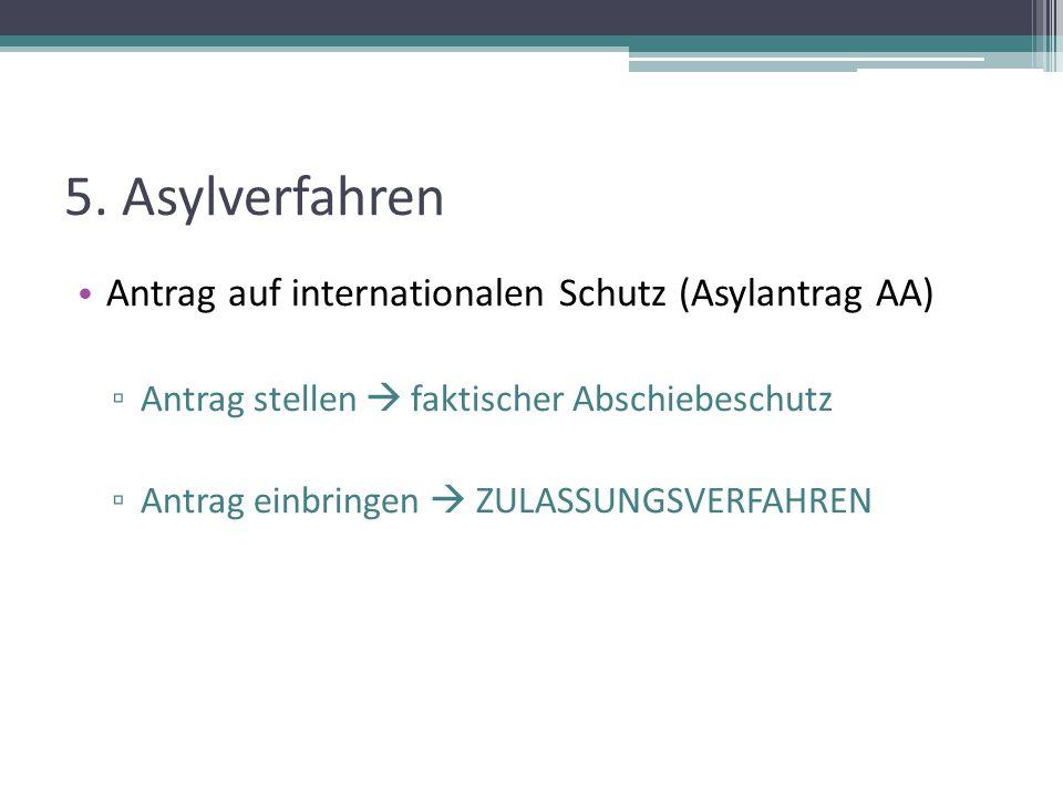 5. Asylverfahren Antrag auf internationalen Schutz (Asylantrag AA)