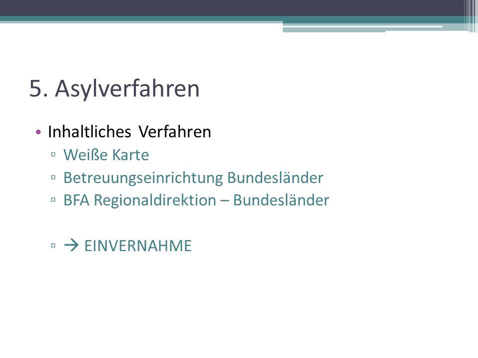 5. Asylverfahren Inhaltliches Verfahren Weiße Karte