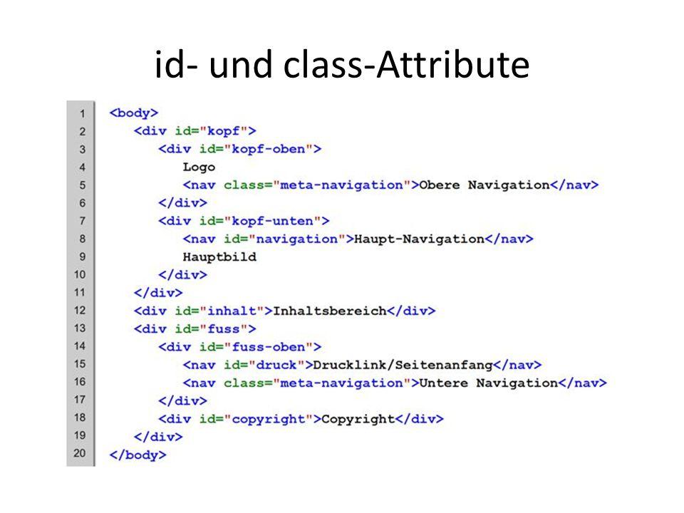 id- und class-Attribute