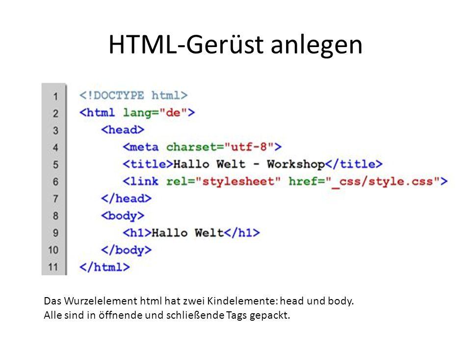 HTML-Gerüst anlegen Das Wurzelelement html hat zwei Kindelemente: head und body.