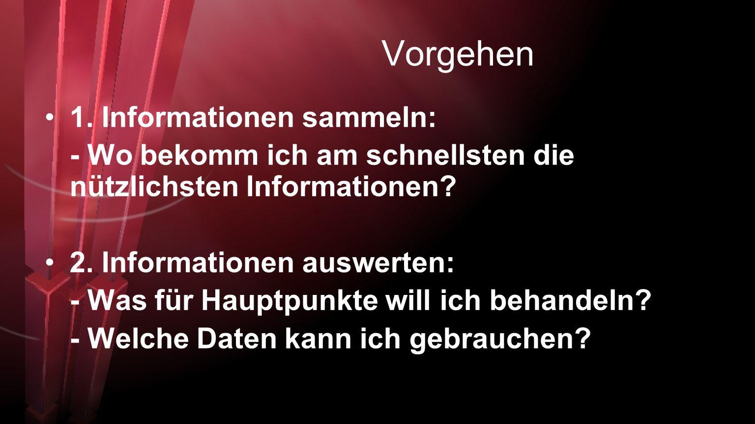 Vorgehen 1. Informationen sammeln:
