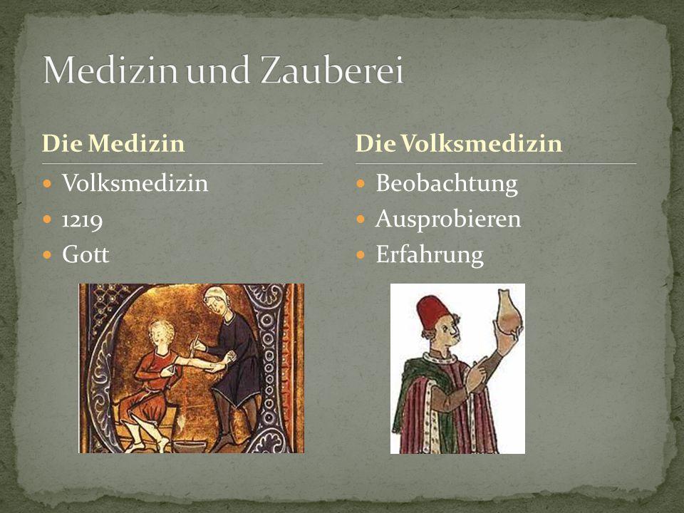 Medizin und Zauberei Die Medizin Die Volksmedizin Volksmedizin 1219