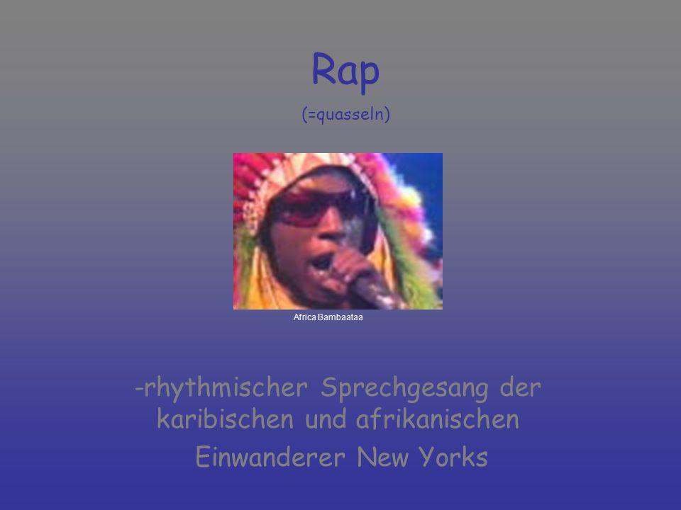 -rhythmischer Sprechgesang der karibischen und afrikanischen