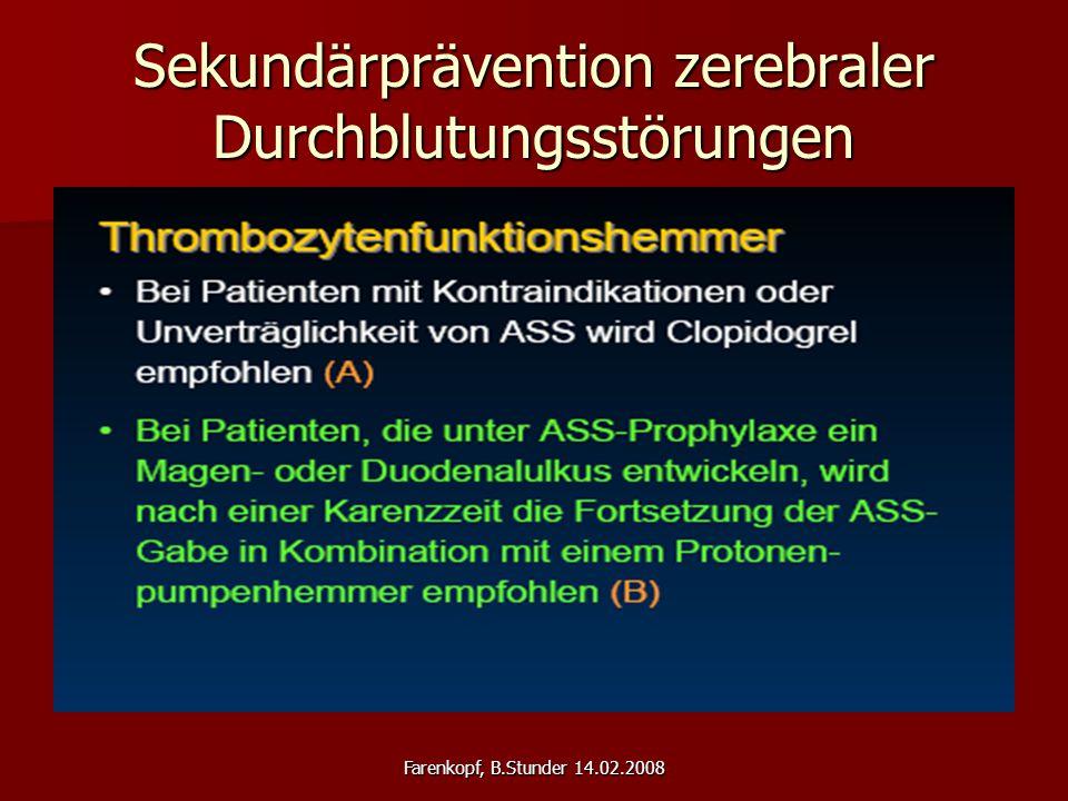 Sekundärprävention zerebraler Durchblutungsstörungen