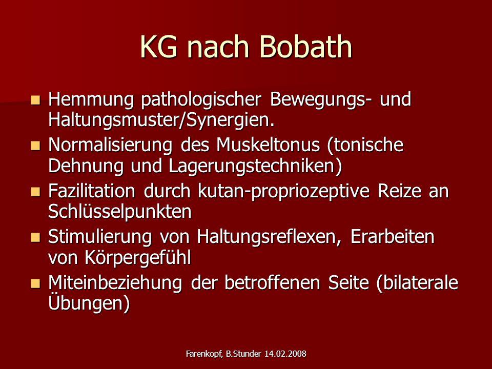 KG nach Bobath Hemmung pathologischer Bewegungs- und Haltungsmuster/Synergien.