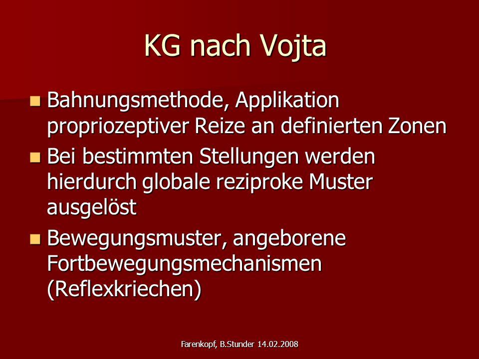KG nach Vojta Bahnungsmethode, Applikation propriozeptiver Reize an definierten Zonen.