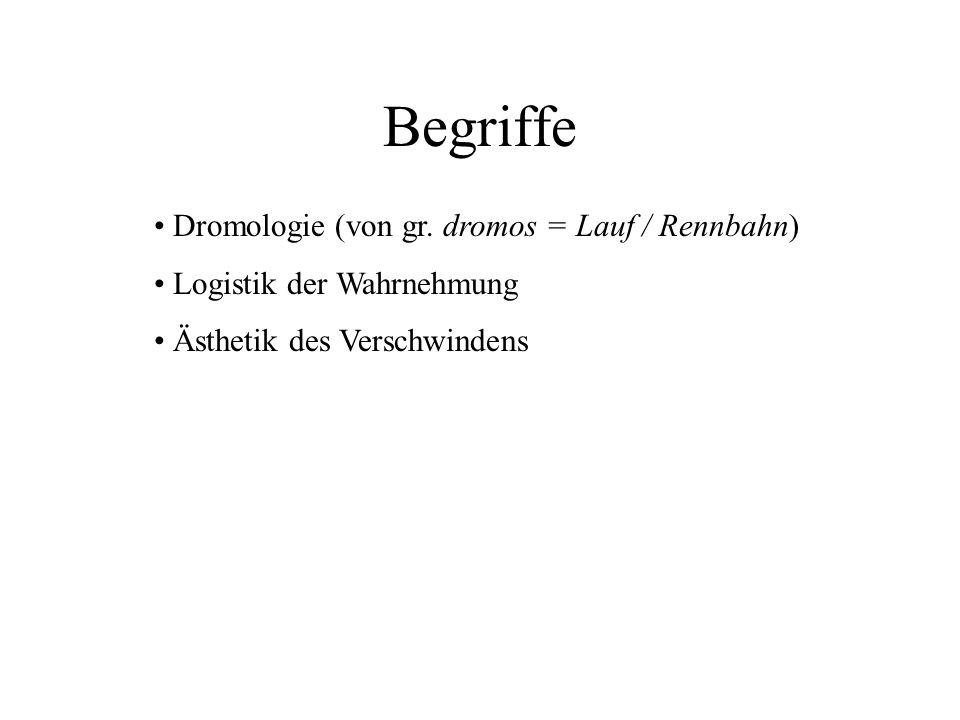 Begriffe Dromologie (von gr. dromos = Lauf / Rennbahn)