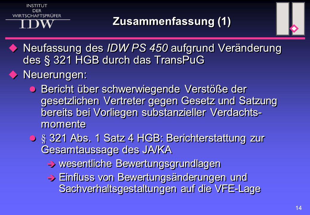 Zusammenfassung (1) Neufassung des IDW PS 450 aufgrund Veränderung des § 321 HGB durch das TransPuG.