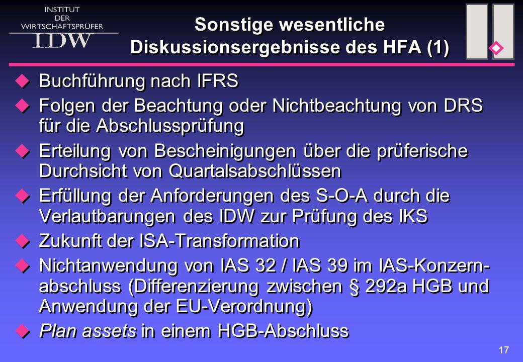 Sonstige wesentliche Diskussionsergebnisse des HFA (1)