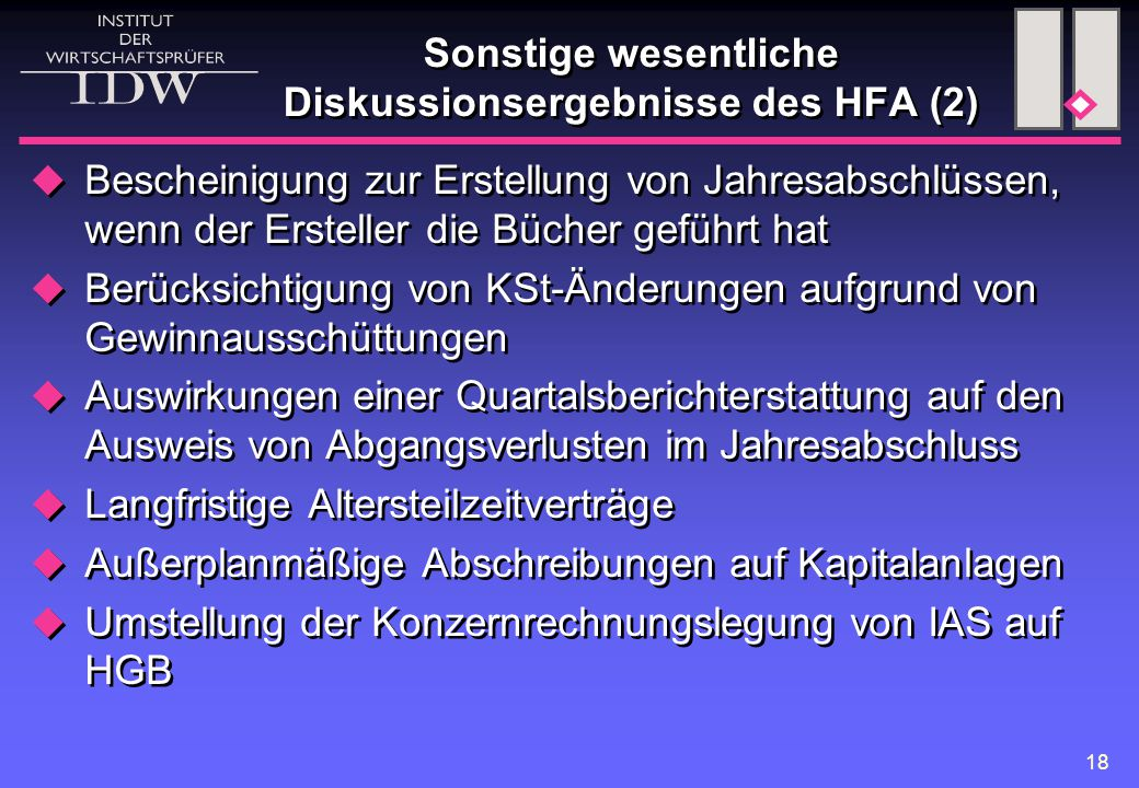 Sonstige wesentliche Diskussionsergebnisse des HFA (2)
