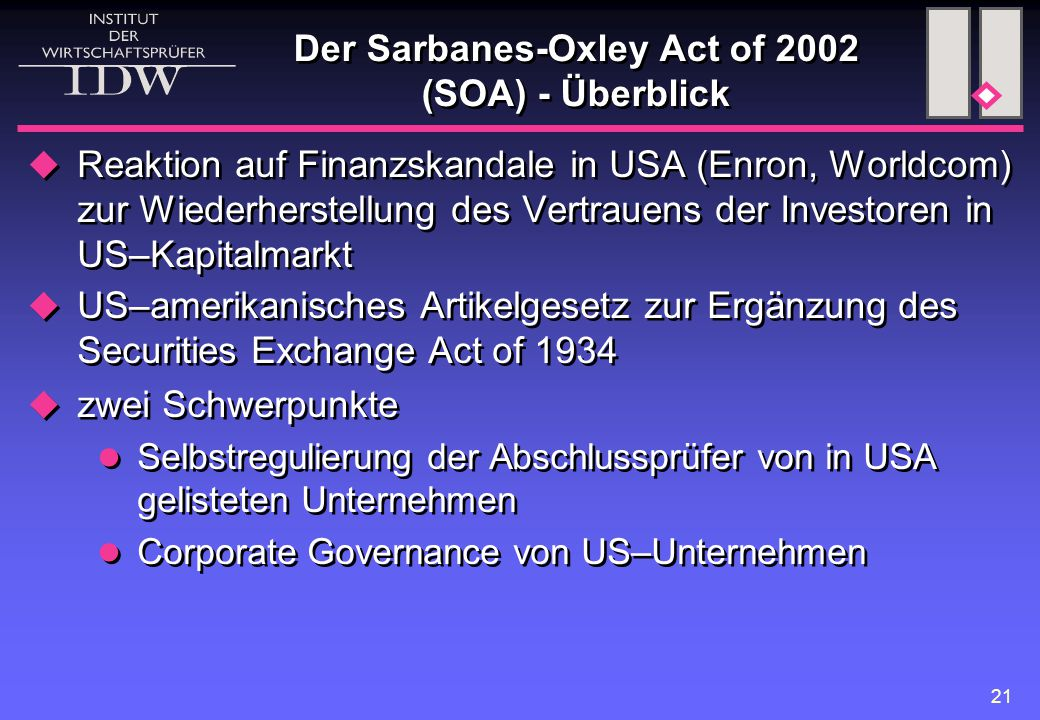 Der Sarbanes-Oxley Act of 2002 (SOA) - Überblick