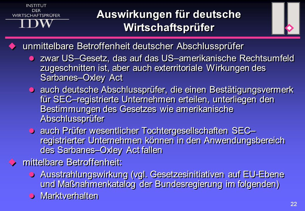 Auswirkungen für deutsche Wirtschaftsprüfer