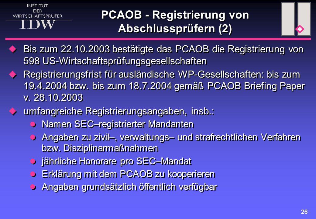 PCAOB - Registrierung von Abschlussprüfern (2)