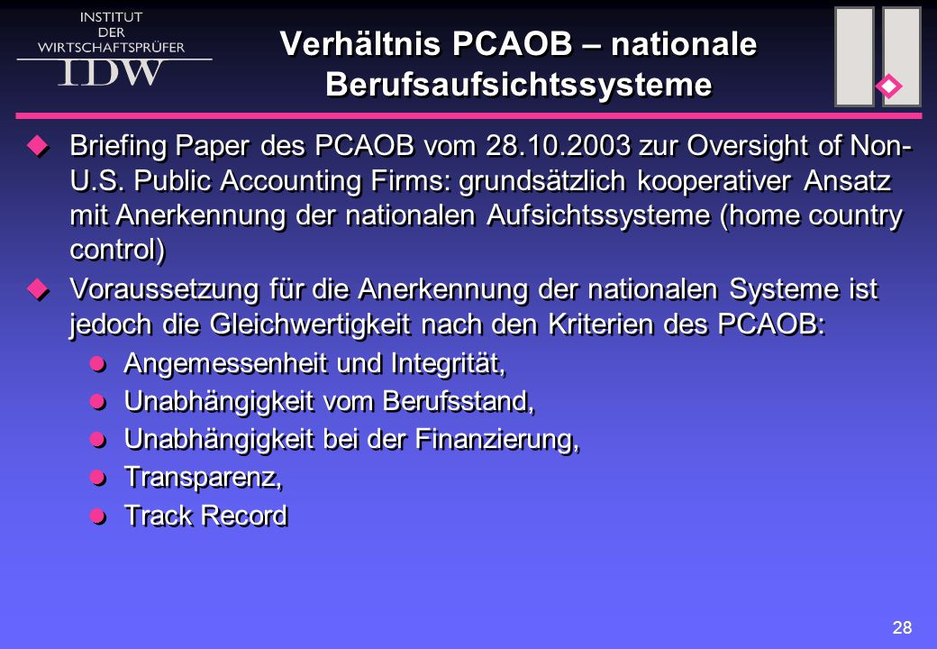 Verhältnis PCAOB – nationale Berufsaufsichtssysteme