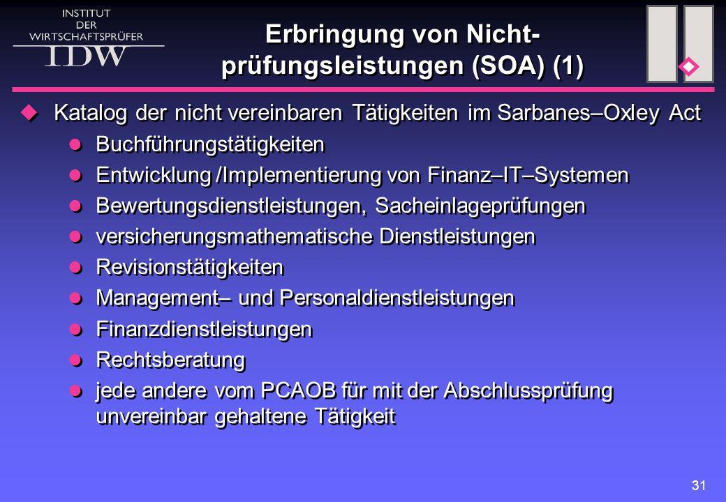 Erbringung von Nicht-prüfungsleistungen (SOA) (1)