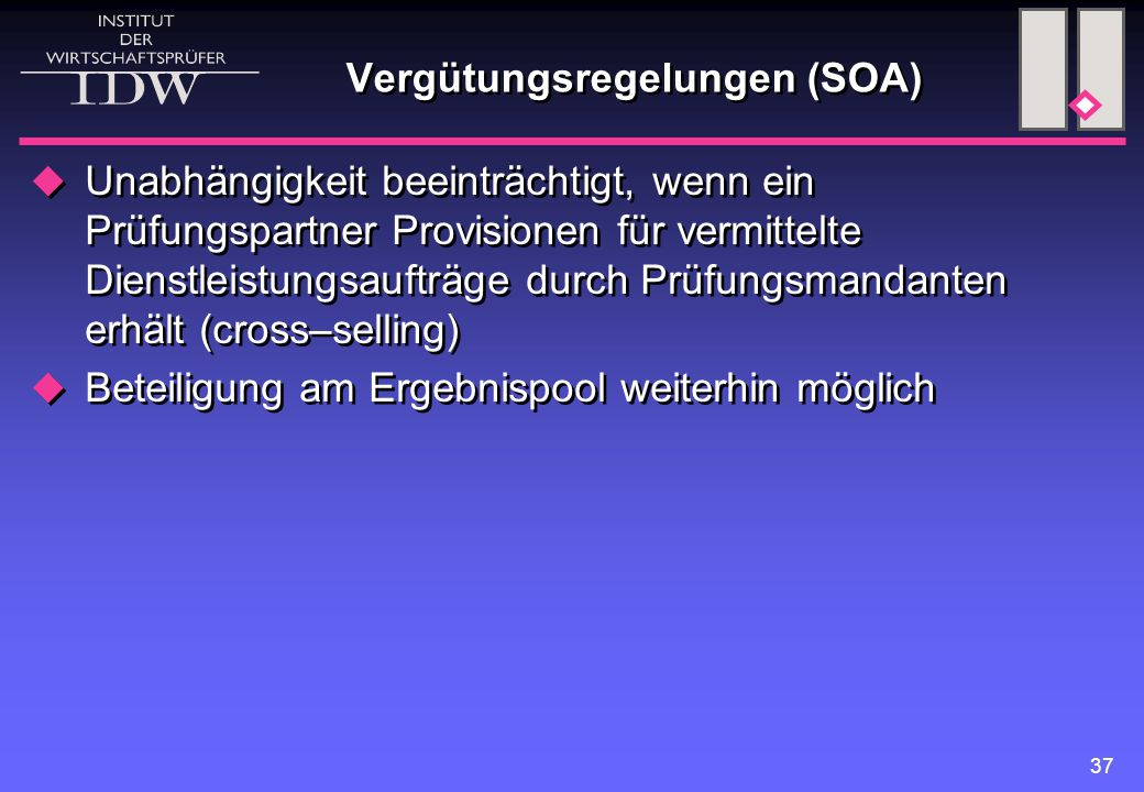 Vergütungsregelungen (SOA)