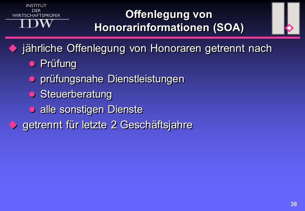 Offenlegung von Honorarinformationen (SOA)