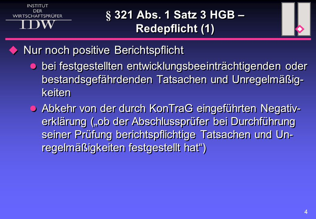 § 321 Abs. 1 Satz 3 HGB – Redepflicht (1)