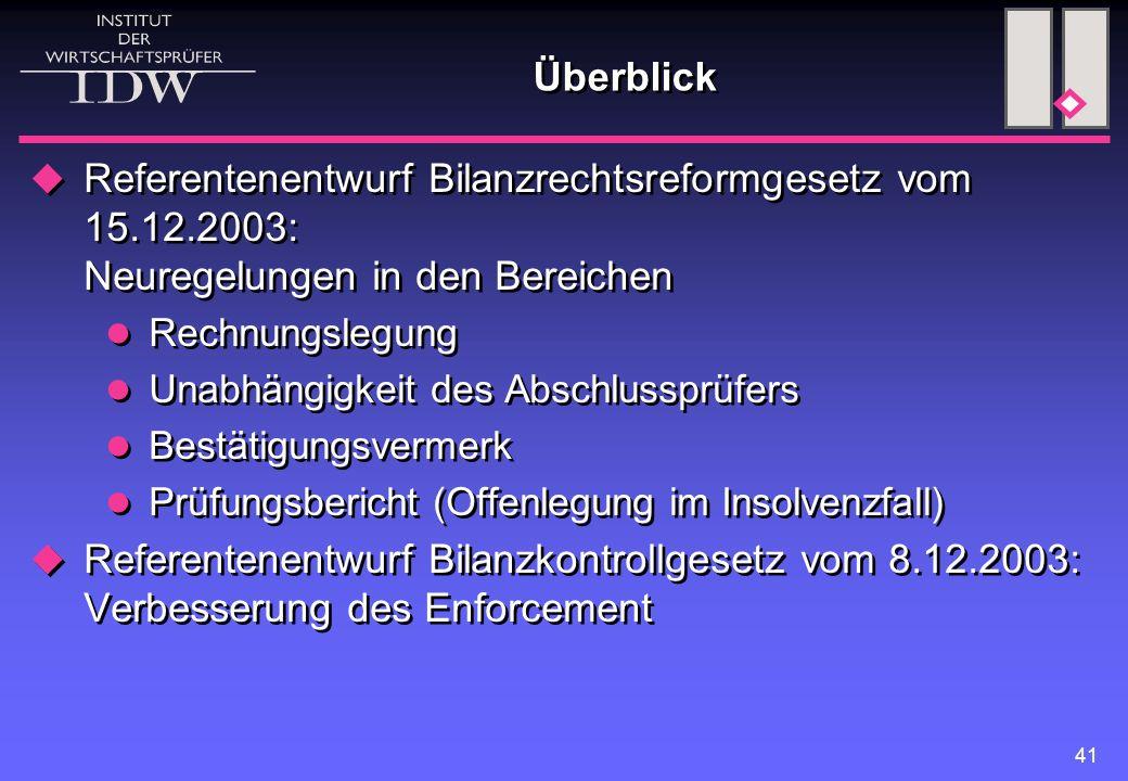 Überblick Referentenentwurf Bilanzrechtsreformgesetz vom 15.12.2003: Neuregelungen in den Bereichen.