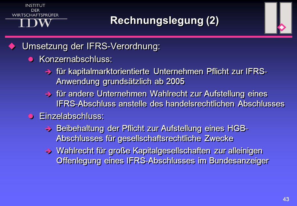 Rechnungslegung (2) Umsetzung der IFRS-Verordnung: Konzernabschluss:
