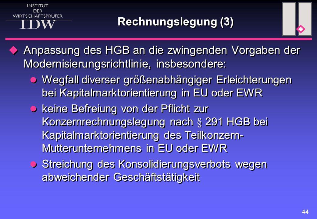 Rechnungslegung (3) Anpassung des HGB an die zwingenden Vorgaben der Modernisierungsrichtlinie, insbesondere: