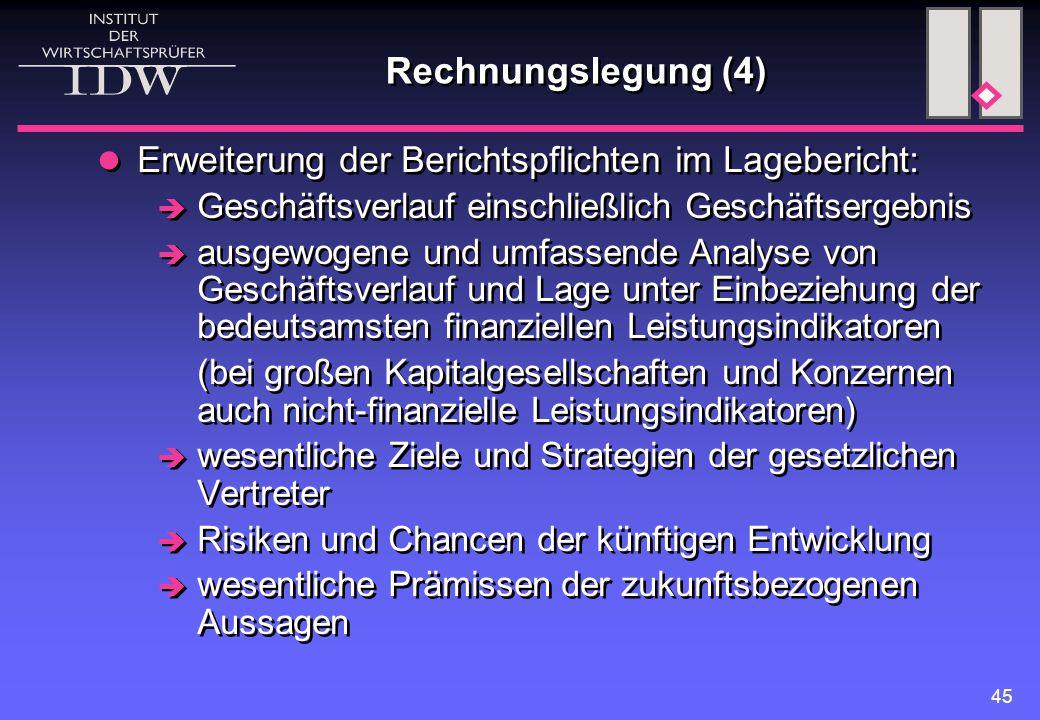 Rechnungslegung (4) Erweiterung der Berichtspflichten im Lagebericht:
