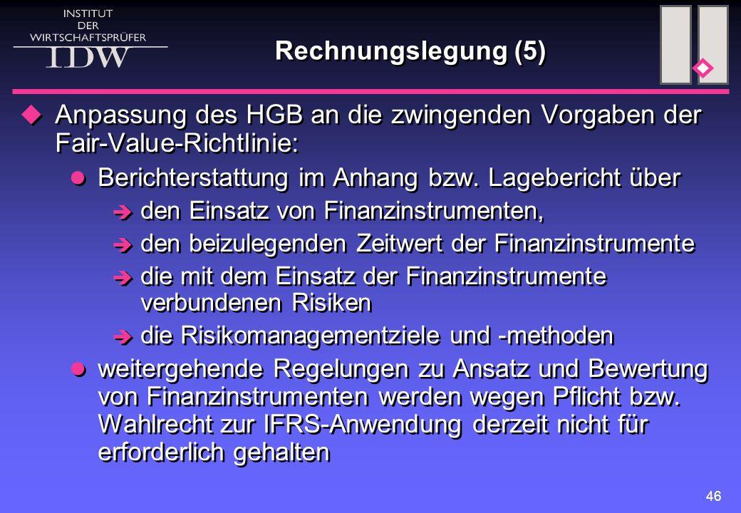 Rechnungslegung (5) Anpassung des HGB an die zwingenden Vorgaben der Fair-Value-Richtlinie: Berichterstattung im Anhang bzw. Lagebericht über.