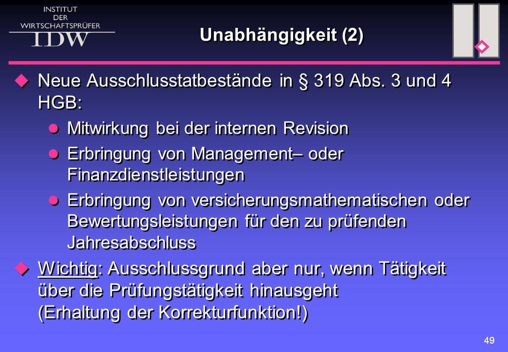 Neue Ausschlusstatbestände in § 319 Abs. 3 und 4 HGB: