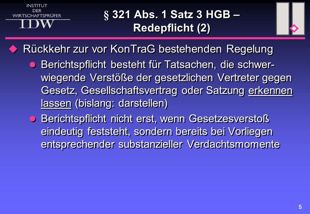 § 321 Abs. 1 Satz 3 HGB – Redepflicht (2)