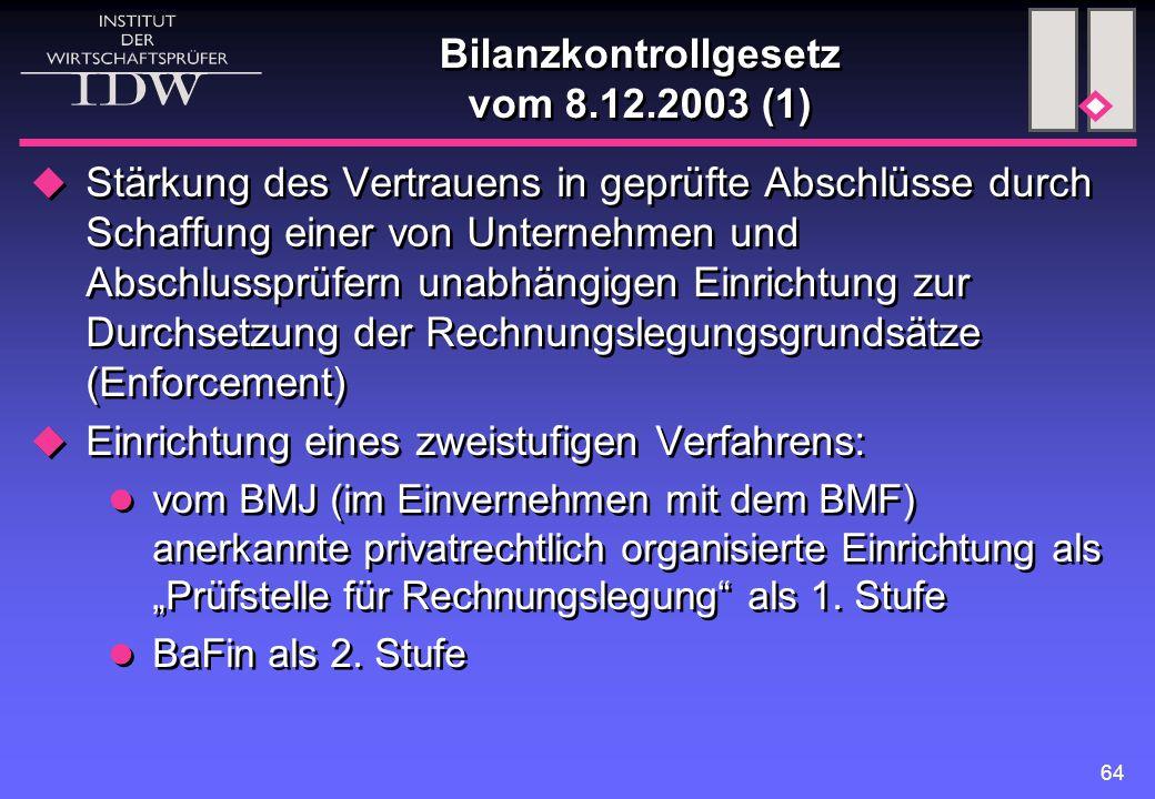 Bilanzkontrollgesetz vom 8.12.2003 (1)