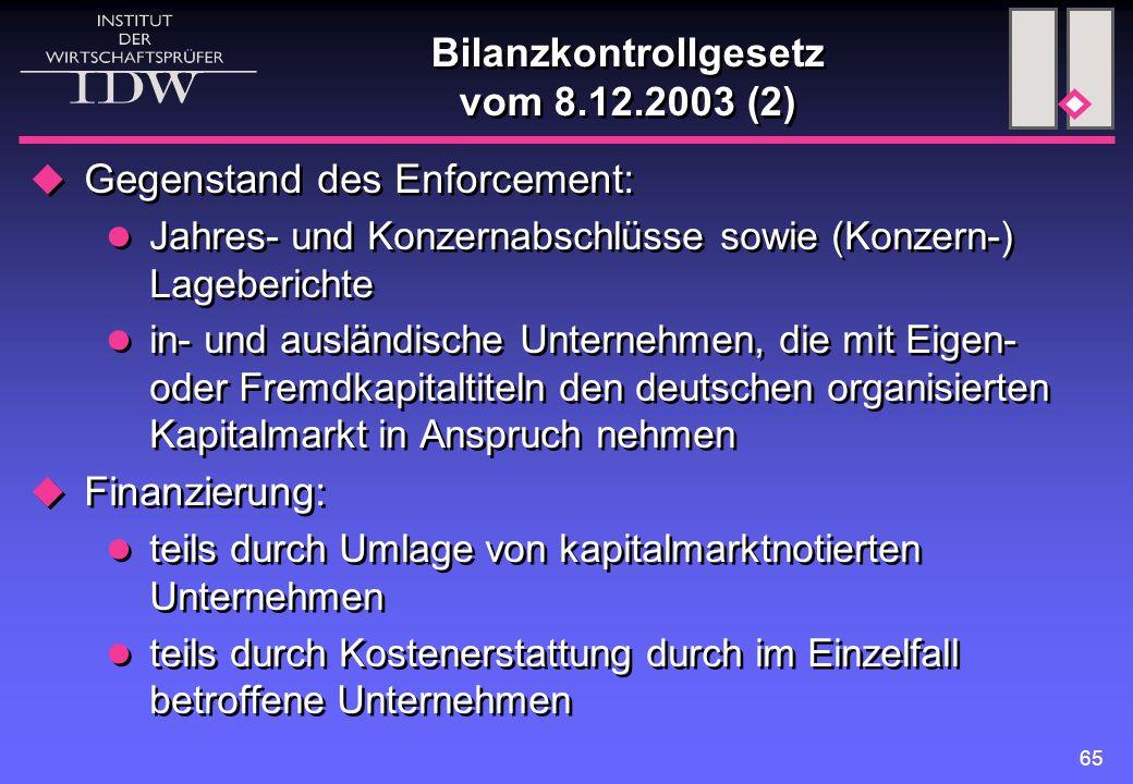 Bilanzkontrollgesetz vom 8.12.2003 (2)