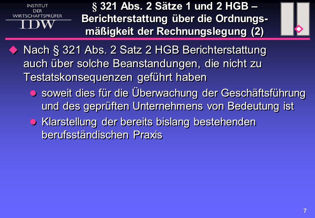 § 321 Abs. 2 Sätze 1 und 2 HGB – Berichterstattung über die Ordnungs-mäßigkeit der Rechnungslegung (2)
