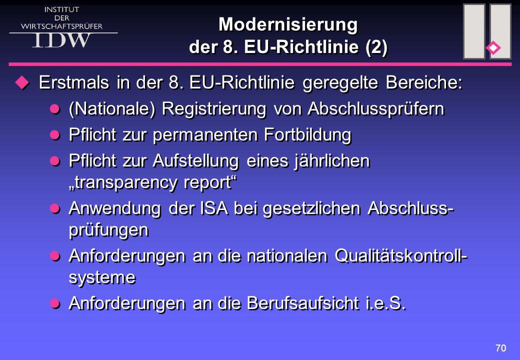 Modernisierung der 8. EU-Richtlinie (2)