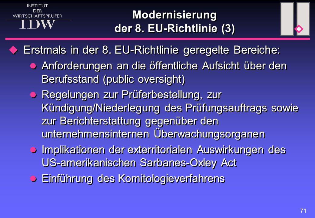 Modernisierung der 8. EU-Richtlinie (3)