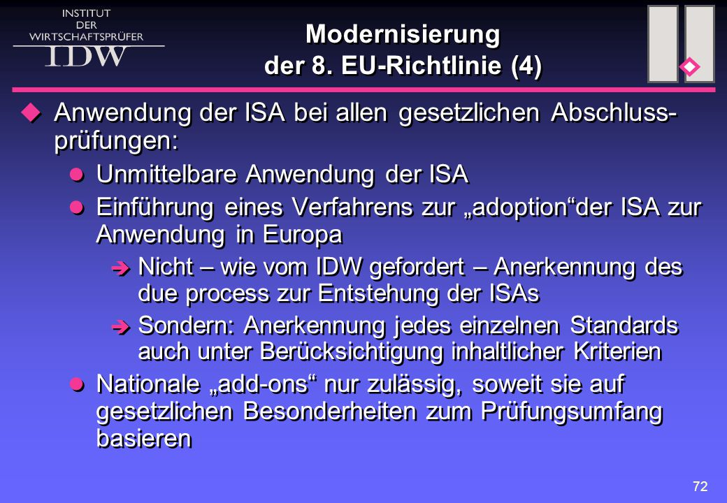 Modernisierung der 8. EU-Richtlinie (4)