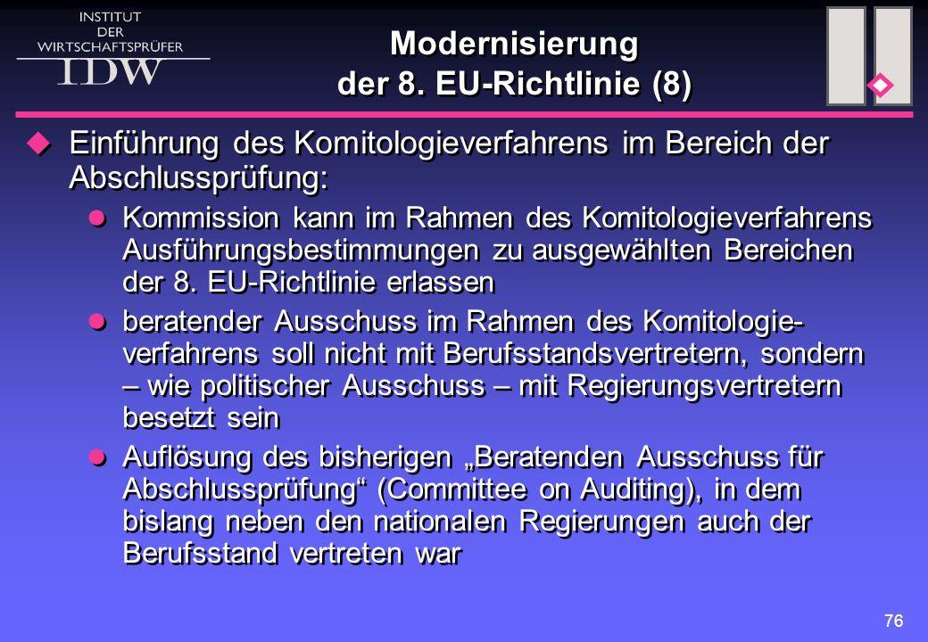 Modernisierung der 8. EU-Richtlinie (8)