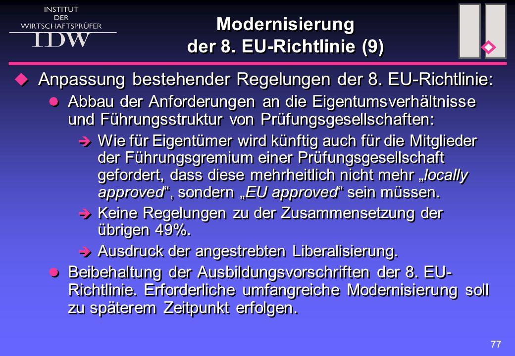 Modernisierung der 8. EU-Richtlinie (9)
