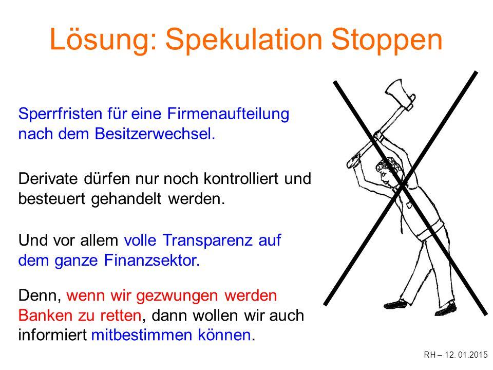 Lösung: Spekulation Stoppen