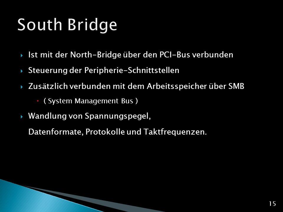 South Bridge Ist mit der North-Bridge über den PCI-Bus verbunden