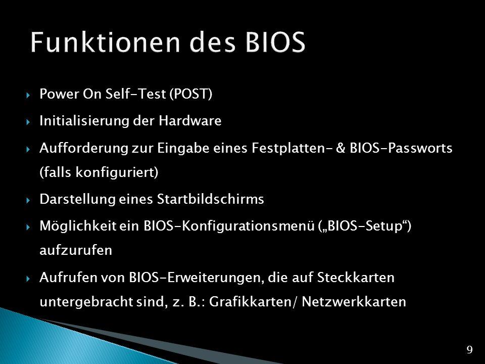 Funktionen des BIOS Power On Self-Test (POST)
